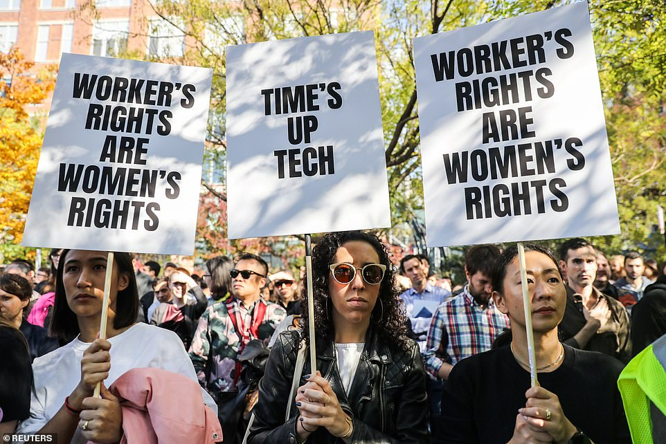 Women participating in New York's Google walkout carried signs that read, 'Worker's rights are women's rights' and 'Time's up tech' during the global walkout on Thursday, protesting the company's protection of executives accused of sexual assault