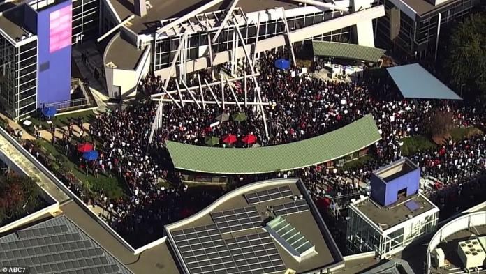 Rubin is accused of forcing a woman to oral sex in a hotel room in 2013; As the mass protest took place on the West Coast, Google employees gathered in front of Google's headquarters in Mountain View, California, on San Francisco Bay