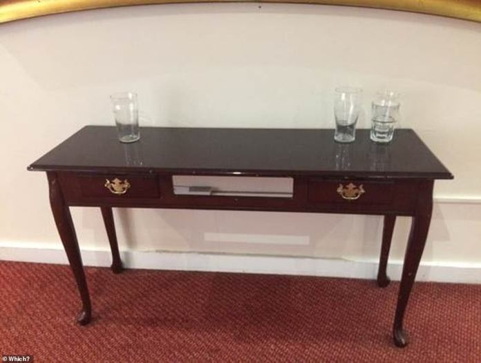 Most complaints about stays in Britannia hotels were due to poor customer service and poor room quality. Pictured is a table in one of the common areas where empty glasses were left