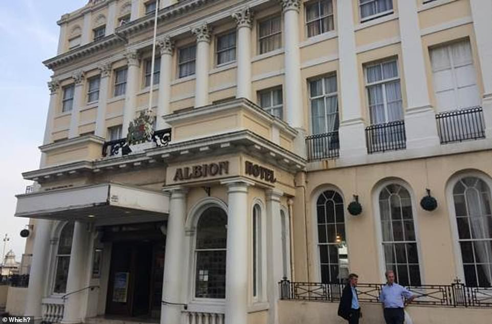 Britannia Hotels named the Worst Hotel Chain by the Consumer Group for the sixth time in a row? Pictured is the Britannia Royal Albion Hotel in Brighton, where? Investigators remained