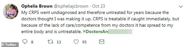 """Ophelia Brown of Ottawa, Ontario claims to have """"caught up"""" with her symptoms of a complex regional pain syndrome"""