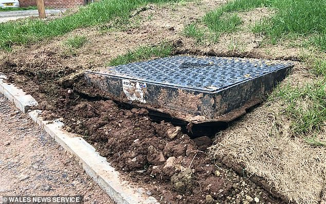The civil engineer added he broke a toe while mowing the lawn and accidentally kicking the exposed drain cover, pictured