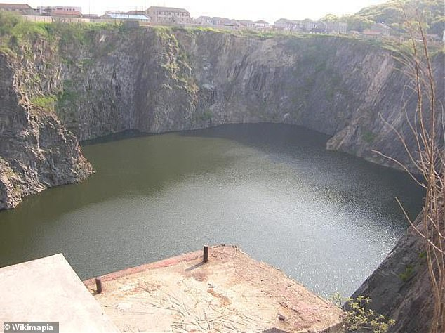 The picture shows the 289 meter deep quarry before the construction of the hotel began in 2009