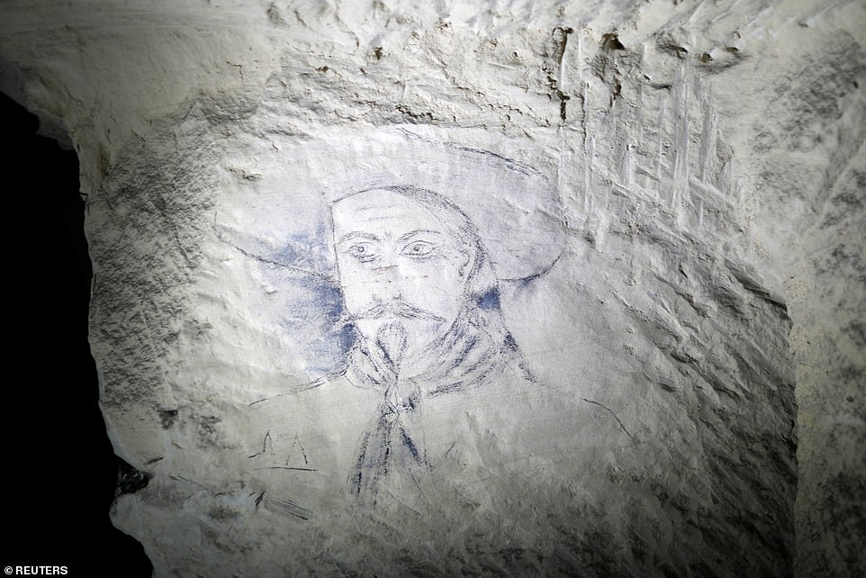 A drawing by William Frederick & # 39; Buffalo Bill & # 39; Cody, seen in the quarry of Froidmont, where the soldiers found shelter. The survivors of the Yankee Division returned to the United States on May 3, 1919 in Camp Devens, Massachusetts
