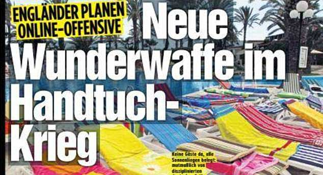 """After learning about Thomas Cook's new sunbed scheme, the German newspaper Bild told a cheeky story. The headline read: """"England is planning a new offensive - new miracle weapon in the towel war"""""""