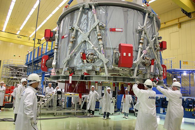 Airbus employees prepare the European Service Module (ESM) for the US spacecraft