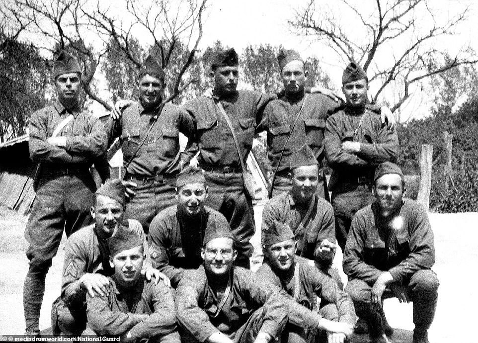 """Soldiers of Company F of the 26th Division, including Joseph Bridges (center with glasses). All of her recruits came from New England and were nicknamed """"Yankees."""" The Yankees were the second division that the US had used in World War I in the first American intervention in a European conflict. America has sent more than a million soldiers to Europe, and they were called doughboys because European cavalrymen thought the big brass buttons on their uniforms looked like dumplings or dough pies."""