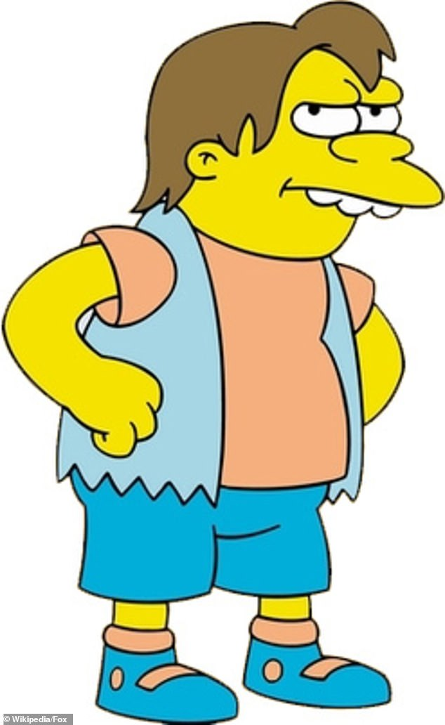 "Chantal Gautier, a psychologist at the University of Westminster (pictured, Nelson from The Simpsons, a character famous for being a bully), says: ""They are bullies."""