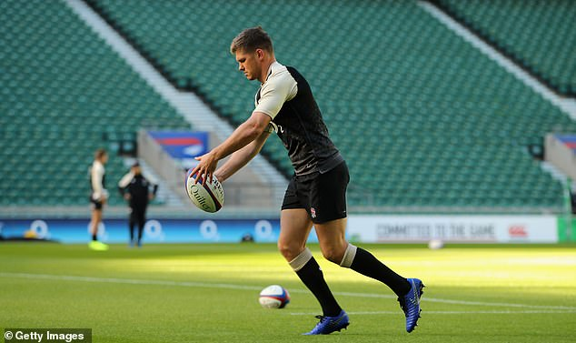 Owen Farrell looks uncomfortable in front of a camera, he is different in the locker room