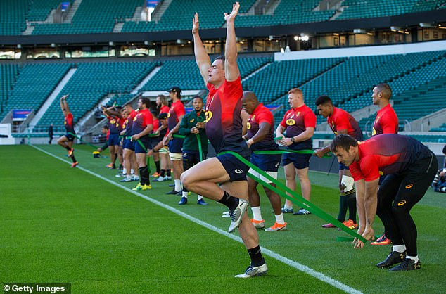 The South African team also trained in Twickenham before the friendly on Saturday