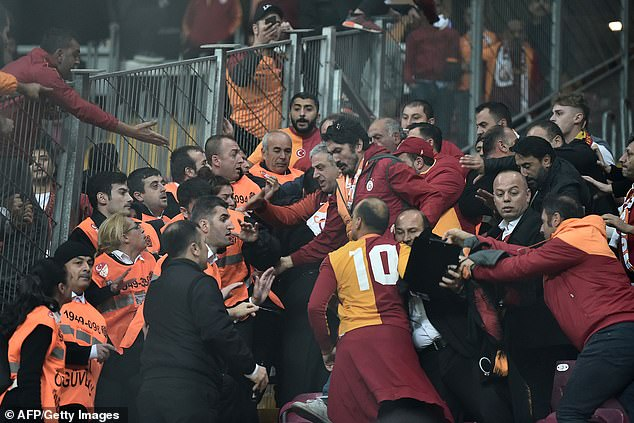 The hostility could be found in the stands as supporters clashed with stewards