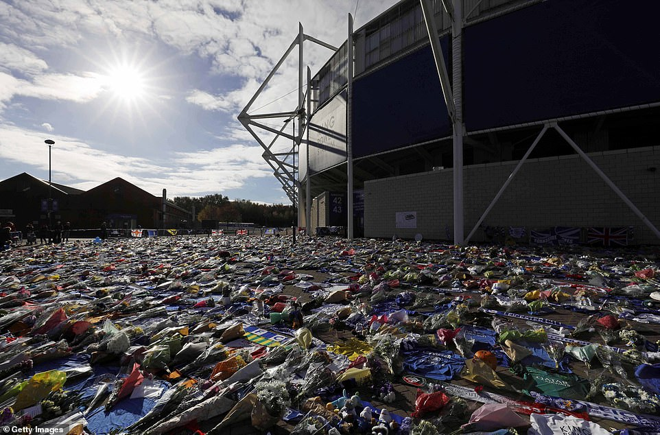 A general overview of the formidable floral tributes Leicester's late chairperson had set before the King Power Stadium