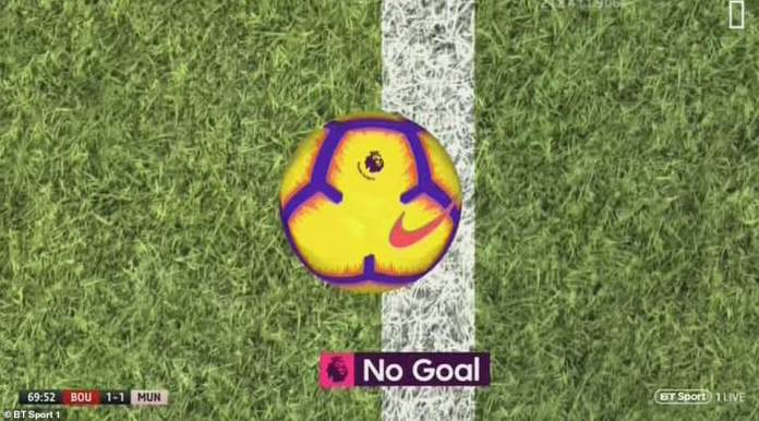 The goal line technology available at Vitality Stadium shows how close the ball was to United
