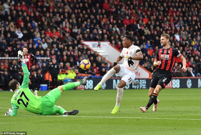 Bournemouth goalkeeper Begovic makes a sweeping goal with his leg outside his own penalty area to deny Martial a second goal