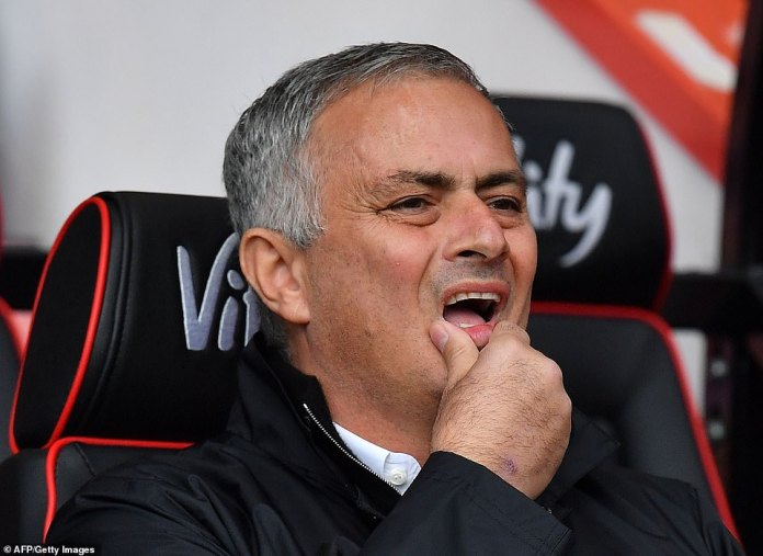 Manchester United manager Jose Mourinho watches from the backcountry in the Vitality stadium while his team has to fight