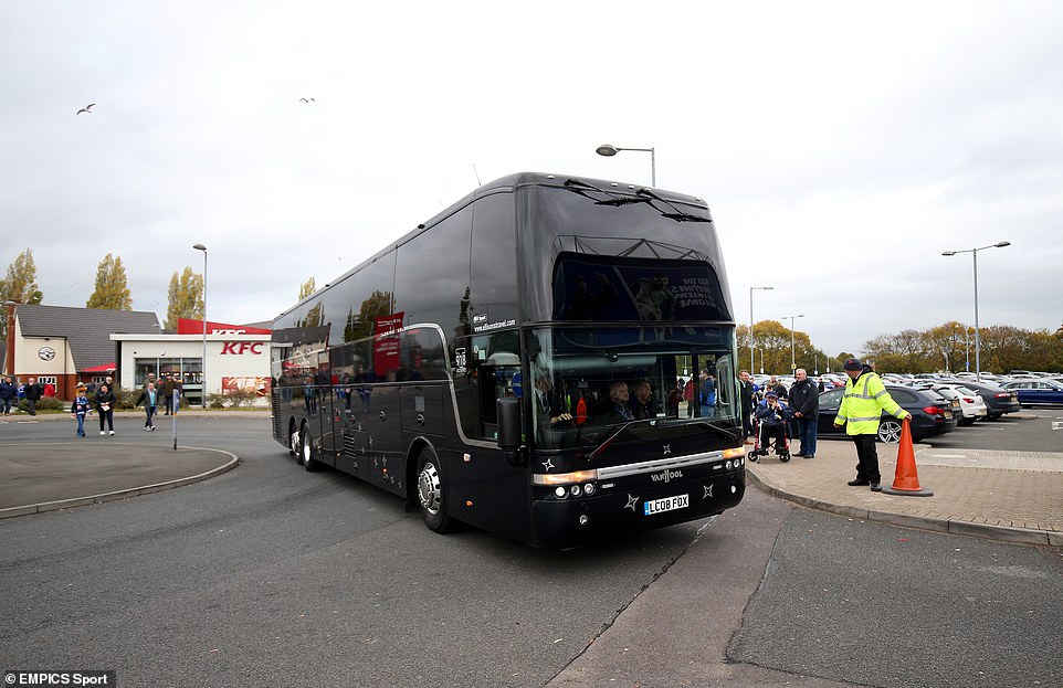 Leicester arrived in Cardiff by bus after deciding that traveling by plane was insensitive to the circumstances