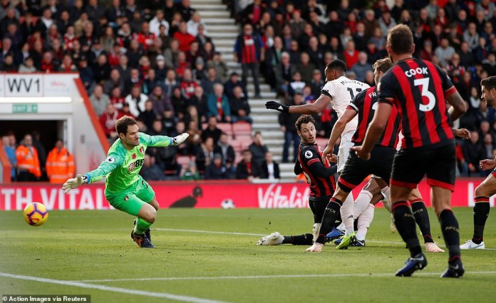 The ball passes Bournemouth goalkeeper Asmir Begovic while Manchester United take the lead in injury time