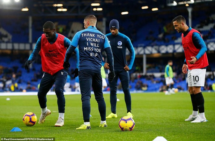 The Brighton winger, Anthony Knockaert, has a special message on the back of his warm-up jacket dedicated to the tribute of Vichai