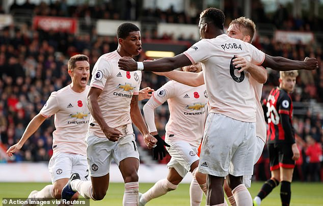 Marcus Rashford scored in stoppage time when Manchester United beat Bournemouth 2-1