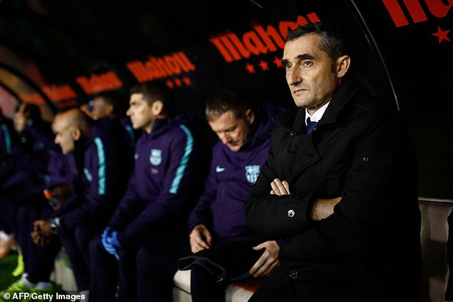 Barcelona coach Ernesto Valverde (right) was satisfied with the character of his team