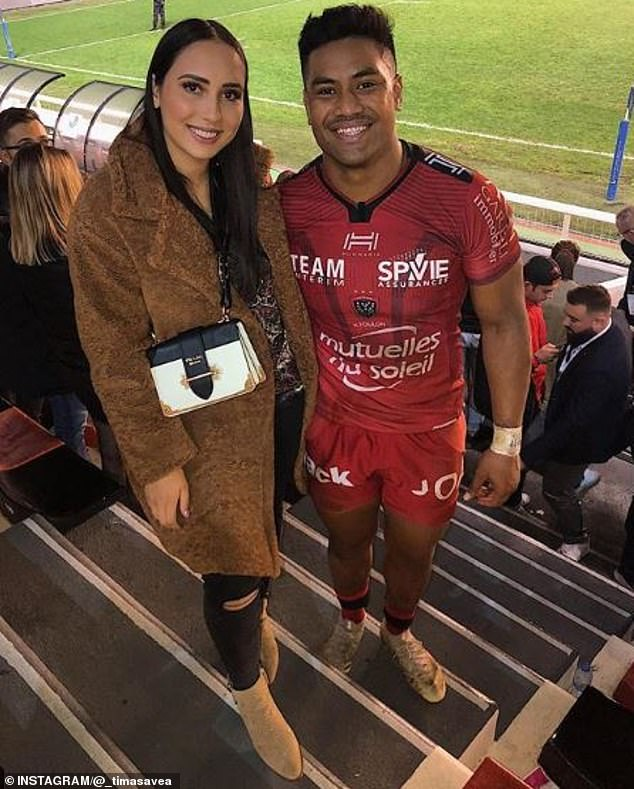 Julian Savea (R) threw his car after playing for Toulon on Saturday, his wife said (L)