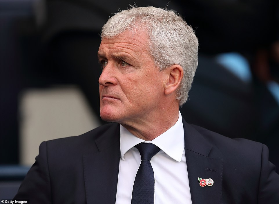 Southampton coach Mark Hughes watched as his team lost to a heavy loss to City
