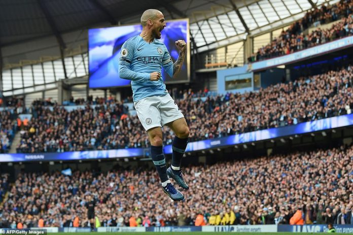 Silva jumped for joy as City scored another victory to claim the Premier League title