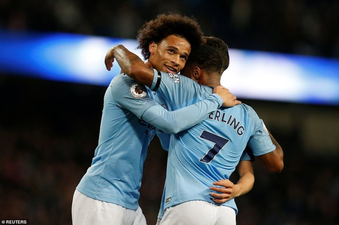 Sane celebrates with Sterling as the City players enjoy their sweeping victory over Southampton