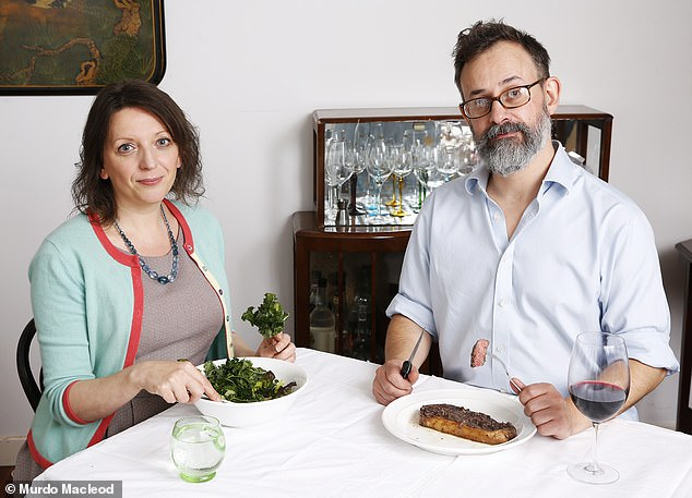 Flic Everett (pictured left) who has been vegan for around two years revealed the challenges of living with her meat-eating partner Andy, 47 (pictured right)