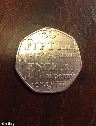 The coins show the word 50 in the style of a traditional dictionary entry