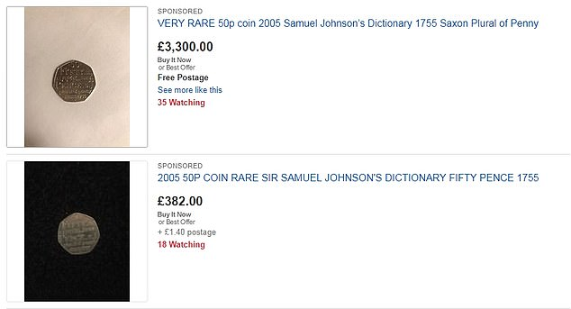 Of the dozens of deals made on eBay for the Samuel Johnson coin, prices range from £ 3,500 to just 50p