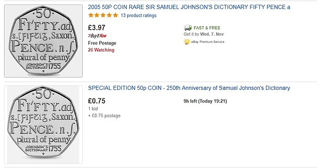 But elsewhere on eBay, the same commemorative coin is sold for a fraction of the price