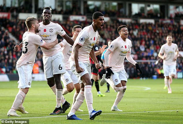 Marcus Rashford celebrates after his late winner of Manchester United in Bournemouth