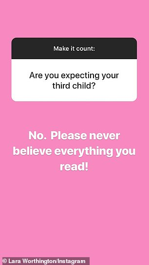 Nope! denying the baby talk, replying to a fan who asked if she was pregnant: 'No. Please never believe everything you read'
