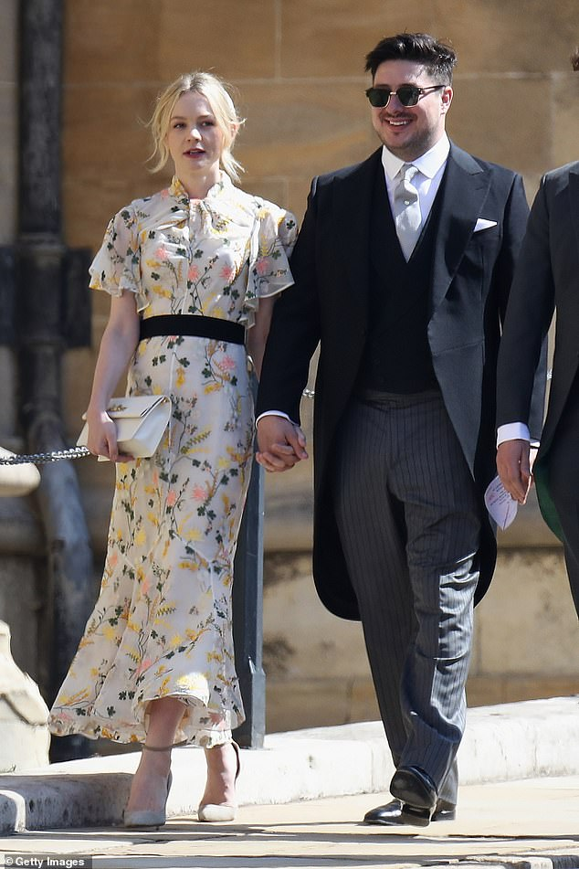 Happy families: Carey and Marcus, above at the royal wedding in May, they married in 2012 and have two children together