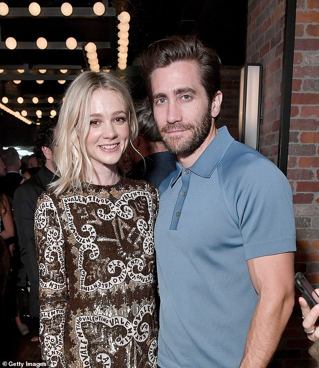 Co-stars: Currently promoting her new movie Wildlife, which she stars in opposite Jake Gyllenhaal (above with the actress in September) she explained how she was lucky to be able to spend time with her children and still have a career