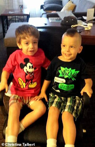 "Parker (left) and Lucas (right) are very similar fraternal twins, but Parker has the ""grosser"" characteristics typical of children with Sanfilippo."