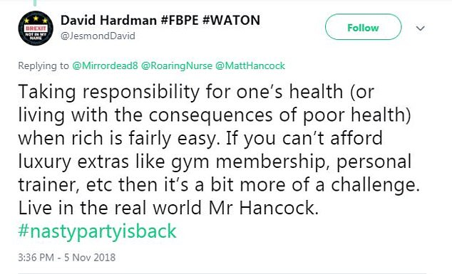 "A man named David Hardman added, ""Taking responsibility for health (or life with the consequences of ill health) when being rich is pretty easy."""