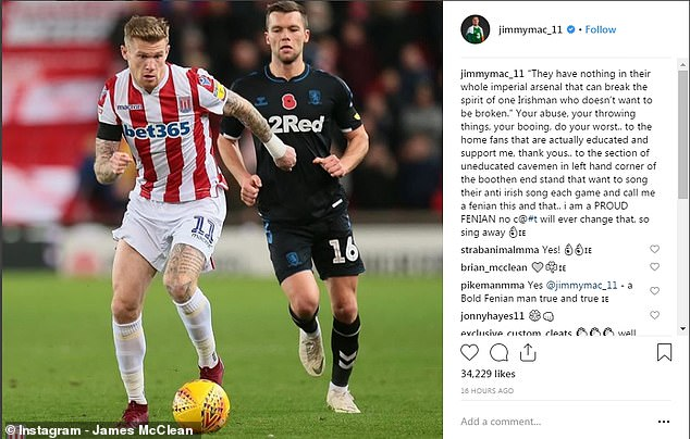 "McClean has also issued a statement on his Instagram calling the ""uneducated cavemen"" of the fans"