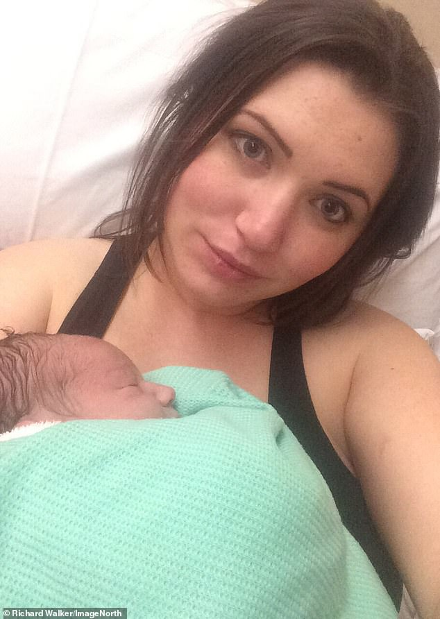 His anticipated arrival: Natasha Pye, from York, with baby Tommy shortly after his birth