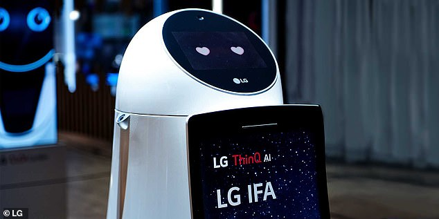 LG introduced prototype designs at CES, which feature a cylindrical robot with a screen on the face displaying prompts and other helpful information. It also debuted a robot exoskeleton