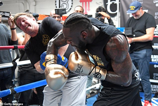 Wilder trained on Monday and almost had a big right hand on his trainer Jay Deas