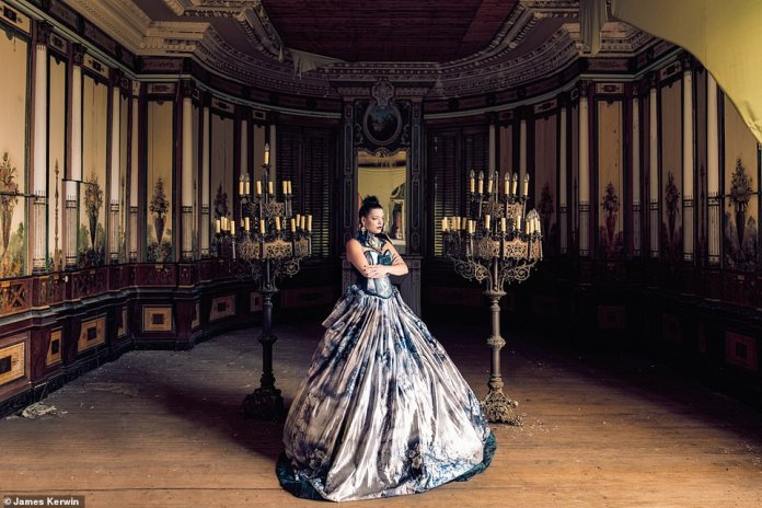 The ornate walls and candleholders are still intact in this deserted French castle. Jade wears a dress by a Belgian designer
