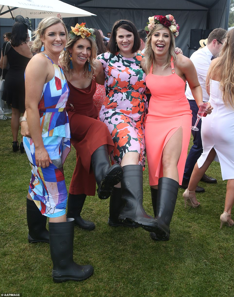 Gumboots were the fashion items of choice for these women who chose practical over pretty footwear