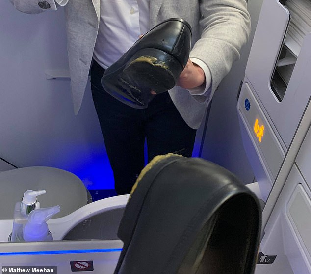 The angry passenger said he was told to use miniature gin bottles to clean the feces and was told to sit down or get off the jet