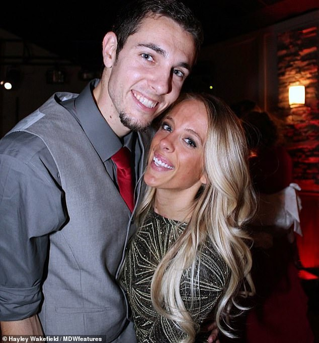 Miss Wakefield, pictured with her boyfriend in the picture, feels happy that her condition does not affect her everyday life, except for occasional pain. But sometimes she goes into her looks
