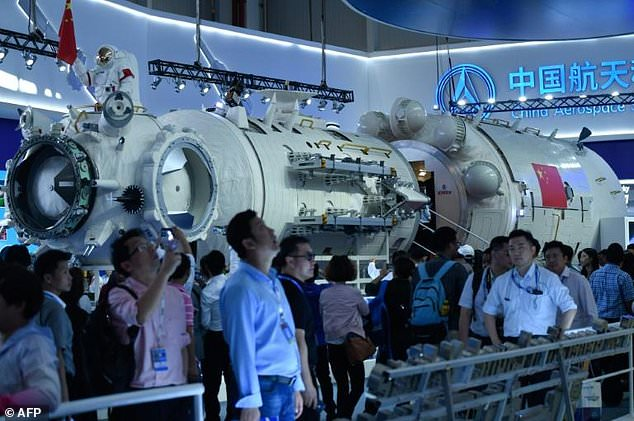 """The model represented the living and working space of the Tiangong - or """"Heavenly Palace"""" - which will also contain solar panels and two other modules for scientific experiments. After the ISS retires in 2024, China will be the only country with a manned space station"""