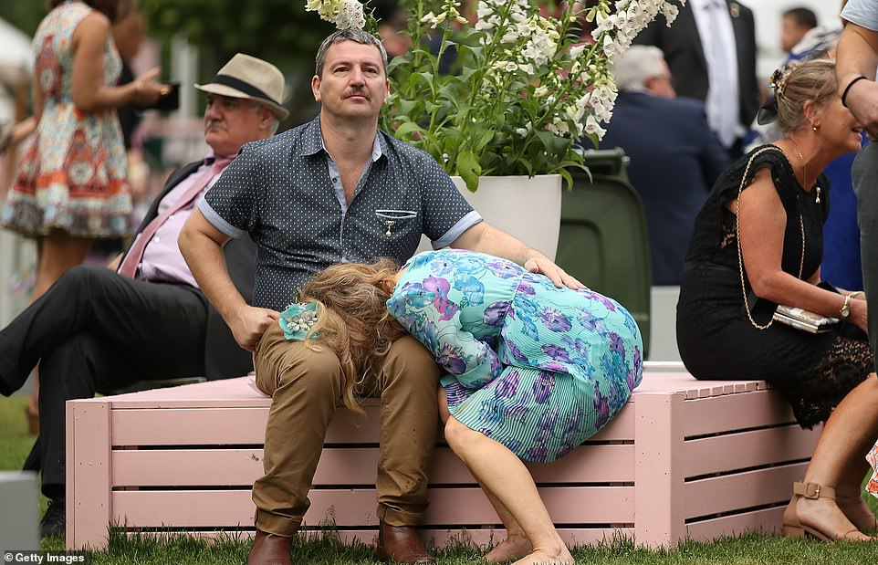 As racegoers begin to make their way home after Melbourne Cup Day, some had to take a moment to rest after standing all afternoon during the races