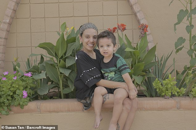 Miss Cornelio's two-year-old son Daniel Jr. (both pictured), whom she shares with her fiancé Daniel Robles, inherited NF from his mother. After being diagnosed, Miss Cornelio decided that she did not want to set a bad example for her son by holding back from the disease