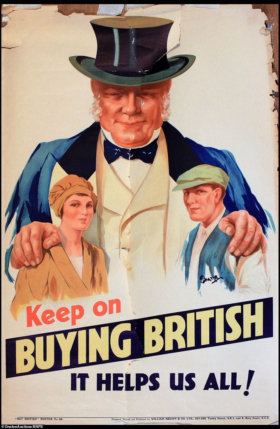 The last poster in the advertising series urged Britons to 'keep on buying British, it helps us all'. A John Bull-type figure was utilised for the last posters, just as it was in the first